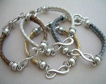 Infinity Bracelet Bridesmaid Gift, Bridesmaid, Bridesmaid Gift, Bridesmaid Jewelry, Wedding,Bride, Leather Bracelets, Gold, Silver, Bronze.