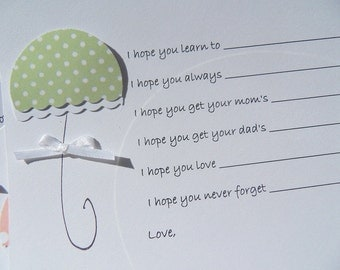 Baby Wish Cards - Baby Shower Advice Cards -  Baby Wish Tags -  Umbrella Cards -  Polka Dot Cards -  KBUWSH