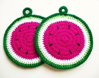 Watermelon Potholders Crochet Watermelon Fruit Slices Country Kitchen Decor Cotton Potholders Housewarming Gift