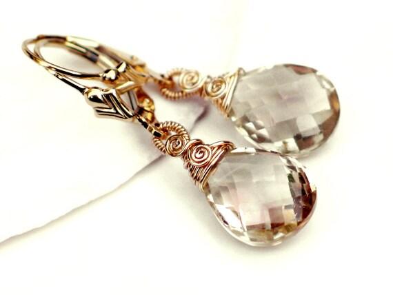 Oregon Sunstone Briolettes Earrings - Pink Champagne Natural Sunstone Wire Wrapped in 14k Gold Filled - Fleur de Lis Leverback