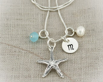 Sterling Silver Personalized Starfish Necklace with Initial and Birthstone, Pearl, Shell or Sea Glass Charms Hand Stamped Jewelry