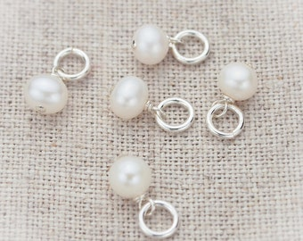 White Freshwater Pearl Charm in Sterling Silver, White Pearl Charm, Pearl Charms, White Pearl Accent, Authentic Pearl Charm
