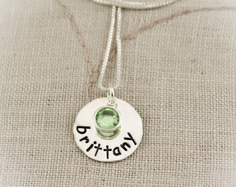 Personalized Name Necklace with Crystal Birthstone Charm Hand Stamped Jewelry