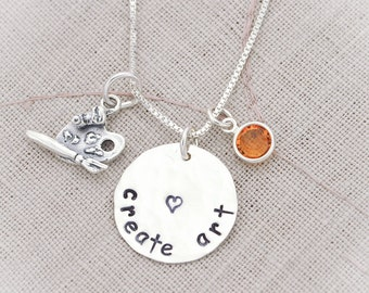 Sterling Silver Artist Art Teacher Necklace with Crystal Birthstone Hand Stamped Necklace
