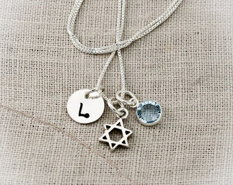 Star of David Charm Necklace for Bat Mitzvah  Personalized Sterling Silver Hand Stamped Jewelry-