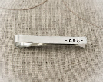 Personalized Men's Tie Clip, Silver Aluminum Tie Clip, Hand Stamped Gift, Groom Gift, Wedding Day Gift, Father's Day Gift, Gifts for Him