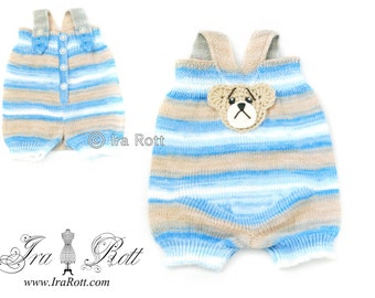 SALE - Knitted Baby Bear Romper Suit -  Ready to Ship for 3-6 months