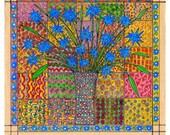 Blue Flower ------- Original Drawing--Home decor