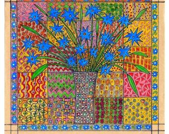 Blue Flower ------- Original Drawing--Home decor---Spring---Home decor