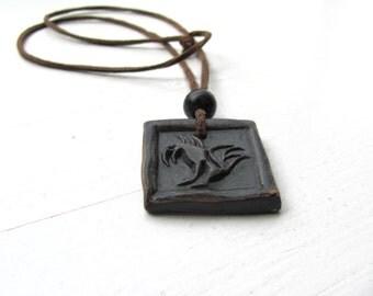 Black Eagle------Ceramic Necklace---Unisex---leather strap-jewelry