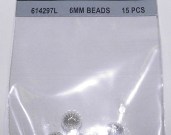 6mm Silvertone Fluted Beads