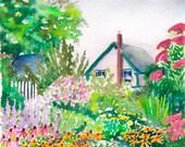 "Charlotte Rhoades Garden, 6""x6"" Watercolor"