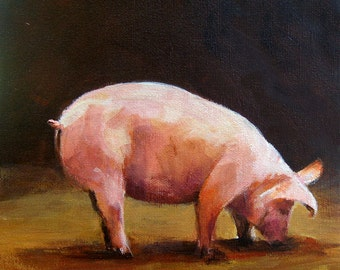 Pig Painting - Hungry  - Paper Print of an Original Acrylic Painting by Cari Humphry