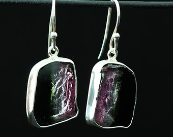 Mark Garbarini Sterling Silver Neapolitan Watermelon Tourmaline Slice Earrings