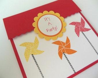 Pinwheel Birthday Invitations, Pinwheel Baby Shower Invitations - Set of 8