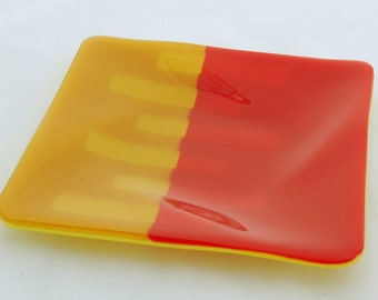 Yellow and orange fused glass dish