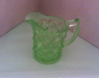Green Vaseline Glass Creamer