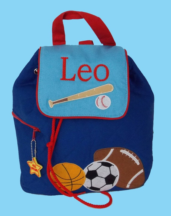 Child's Stephen Joseph Quilted SPORTS Backpack-Monogramming Included