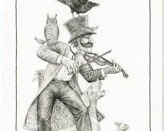 Music Man II, print of original drawing, exuberant, whimsical, black, white, intricate textures, fine detail, birds, animals, music.