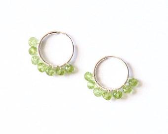 Lemon lime sherbet peridot and sterling silver endless hoop earrings- green gemstone small hoop earrings- August birthstone- summer