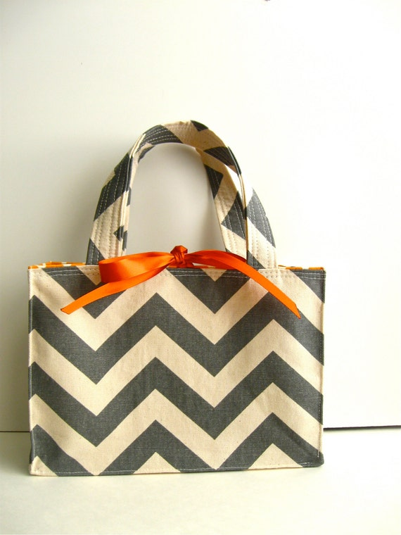 Small Tote, Charcoal Chevron and Tangerine Dot