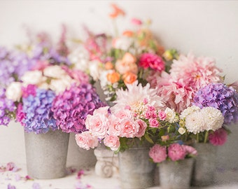 Flower Photography - The French Flower Market, Roses, Hydrangeas, French Country, Floral Still Life Photography, Romantic Wall Decor