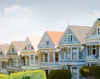 San Francisco Photography - The Painted Ladies, Victorian Houses, Vintage Architecture, Urban Wall Decor, Large Wall Art