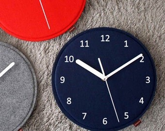 Wall Clock, Felt  Wall Clock - Red, Navy, Gray