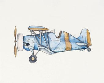 """Vintage Airplane - 8x10"""" Watercolor Print - Blue and Yellow Airplane, Aviation, Plane"""