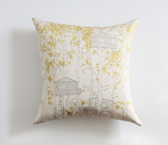 Yellow Tree House Pillow Cover