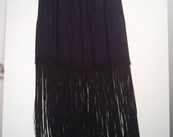 Black fringe skirt goth punk fringed skirt cocktail dress gown bohemian boho grunge 50s 12 m steampunk
