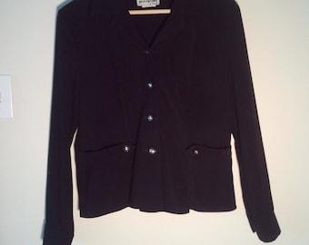 black suede blazer jacket power suit coat 38 L late 80s early 90s punk boho ultrasuede