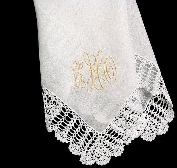 Wedding handkerchief personalized with embroidered monogram