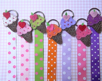 Bow Holder with Polka Dot Ribbon and ice cream cone - Hair bow holder- Clip Holder - Clippie Holder