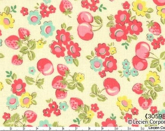 CLEARANCE, OLD NEW 30'S, Japanese, Lecien, Floral Cherries & Strawberries in White, 1/2 Yard
