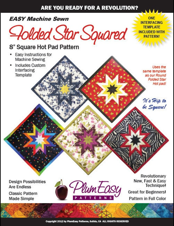 Plum Easy, Folded Star, Hot Pad Potholder, Pattern and 1 Template