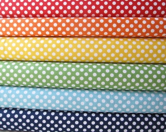 Small Dots Rainbow Fabric Fat Quarter Bundle -  Fabrics by Riley Blake Designs - 1.5 yards total
