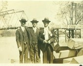 1920s Men Posing Next To Highway River Bridge Well Dressed Suits Antique Black White Vintage Photo Photograph