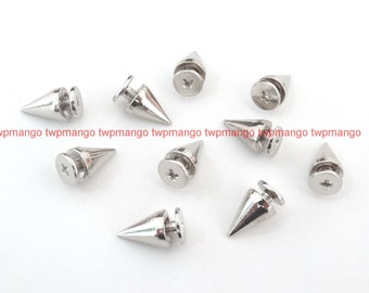 50 3/8 Metal Cone Screwback Spikes Studs Punk Spots N81-50