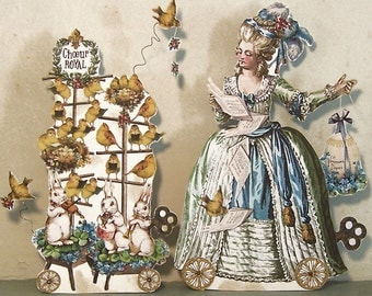 Digital Easter Decoration - Marie Antoinette Bird Choir Paper Doll Papercraft - INSTANT Download - 3D French Bird Bunny Altered Art  MA19E