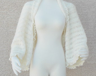 Hand Made Hand Knit Summer ShrugSweater Ivory  Bell Sleeve
