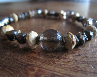 Brown and Tan Stone and Sterling Silver Bracelet