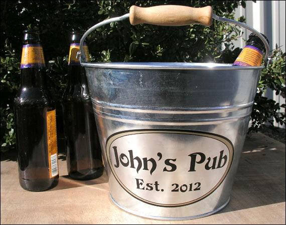 Personalized Groomsmen Gift, Custom Beer Bucket, Galvanized Metal Bucket, Beer Gifts for Men & Groomsmen - Large Size (6qt)
