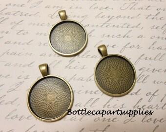 "10 pcs  1""  Blank Round  Photo Antique Bronze Tray Charm Pendants 25mm"