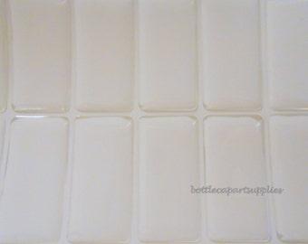 50 DOMINO 1 inch x 2 inch  1x2  Clear Epoxy Square Sticker Seals