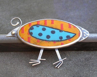 Bird Brooch - Enamel Brooch - Quirky Quail Colorful Enamel Brooch - Enamel Bird Brooch - Enamel Silver Brooch - Enamel Sterling Silver Pin