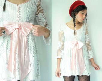 RARE 60's Vintage White Crochet Lace Mini Dress / Large Pink Bow / Sheer Sleeves / Flower Detail