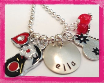 Girls Personalized Necklace - Flip Flops and Hearts #G609