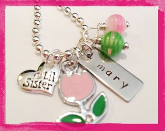 Personalized Necklace - Lil Sister or Big Sister - PINK TULIP Necklace - Hand Stamped for KIDS