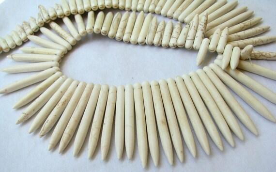 "White Howlite Stick beads, Howlite spikes, 8.5"" strand 20-48mm (4sj10)"
